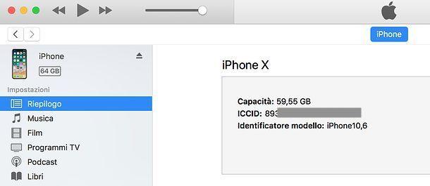 Come trovare il numero seriale della SIM da iTunes