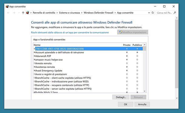 Come autorizzare app nel firewall di Windows 10