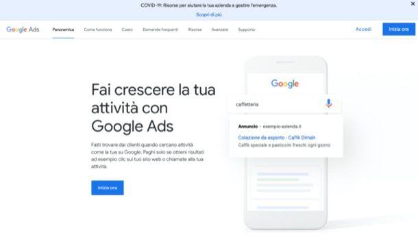 Pagina iniziale di Google Ads