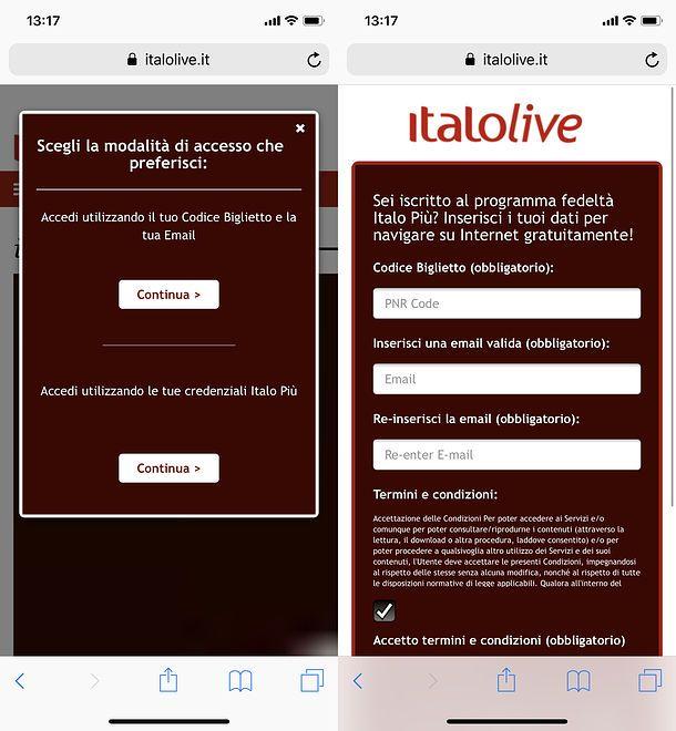 Accesso Wi-Fi Italo iPhone