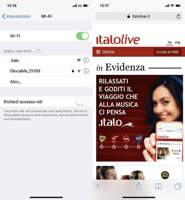 Wi-Fi Italo iPhone