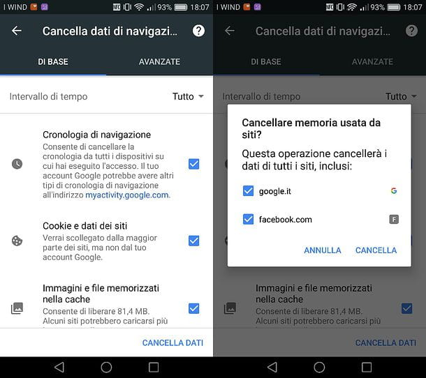 Come cancellare cronologia da Google Chrome per Android