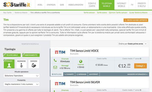 TIM tariffe cellulari a confronto