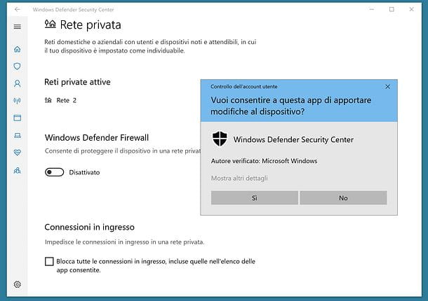 Come disattivare firewall Windows 10