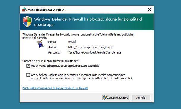 Consenti accesso nel firewall di Windows 10
