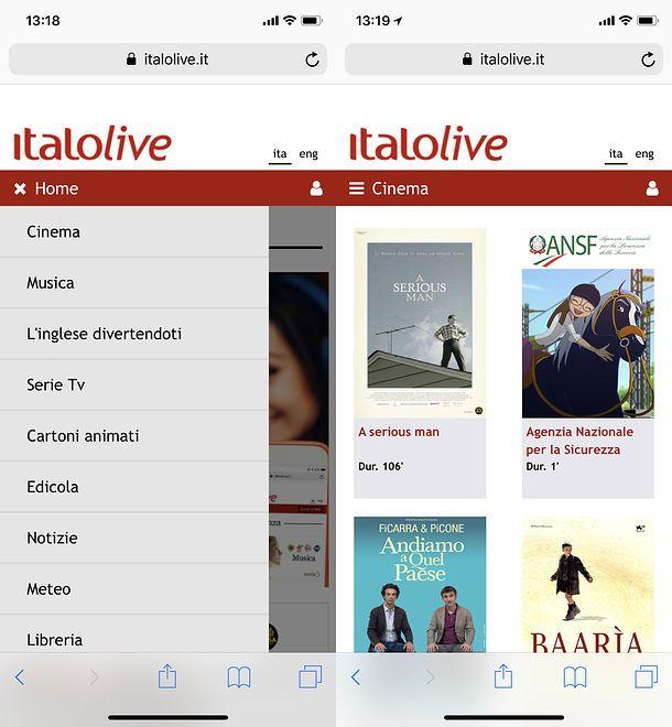Italo Live su iPhone