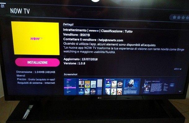 App NOW TV per TV LG