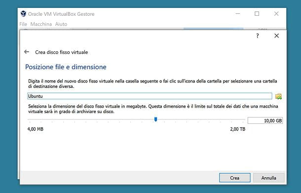 Impostazione disco VirtualBox