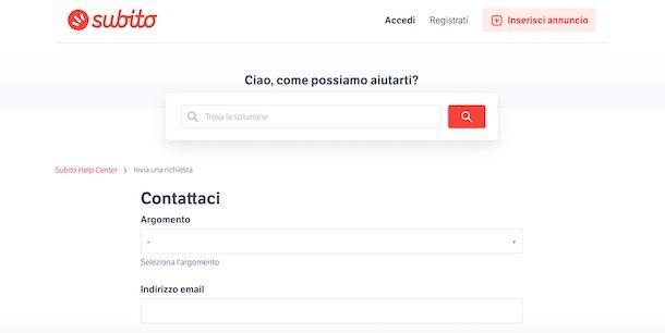 Come contattare Subito.it via email