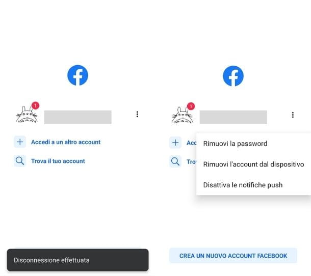 Eliminazione password app