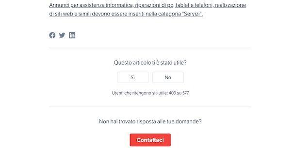 Contattare staff Subito.it