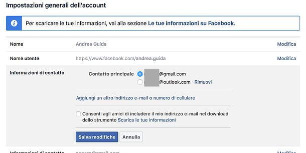 Come cancellare email da Facebook da PC
