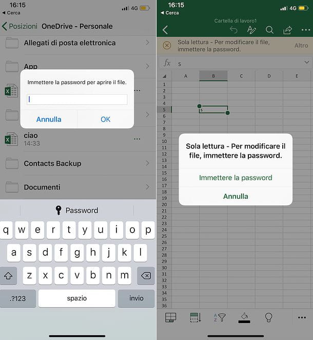 Come mettere la password ad un file Excel mobile