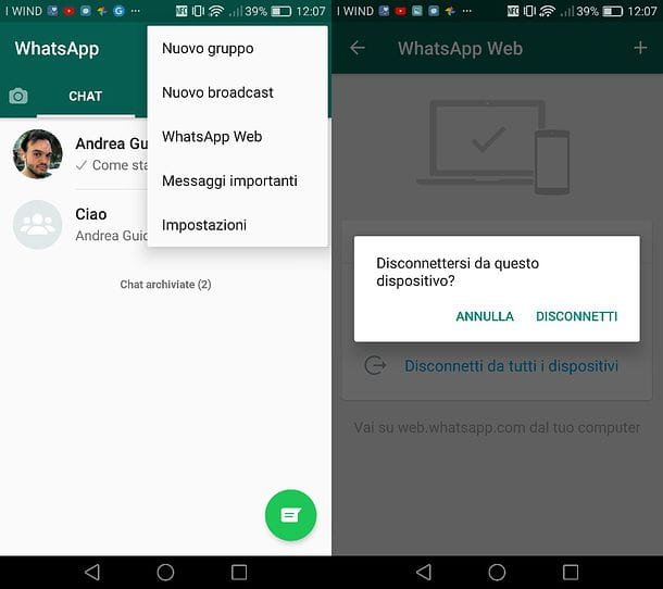 Come disabilitare WhatsApp Web