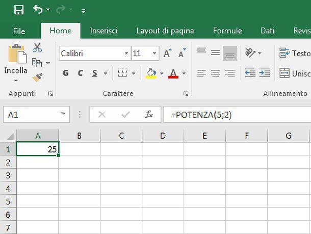 Funzione potenza in Excel