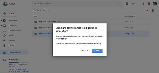 Come eliminare backup di WhatsApp Google Drive