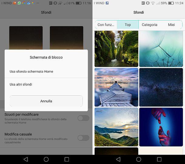 Come cambiare sfondo blocco schermo Huawei