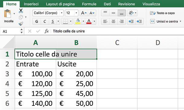 Come unire celle Excel