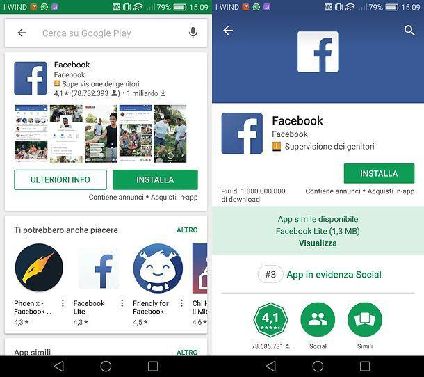 Facebook su Play Store