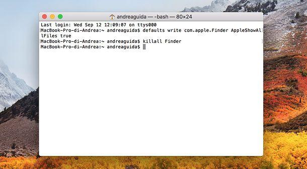 Comando per mostrare cartelle nascoste Mac