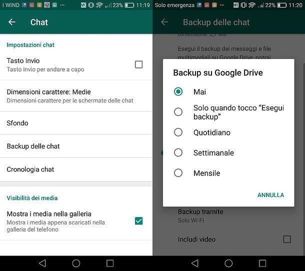 Come disattivare il backup di WhatsApp su Android