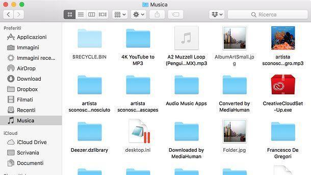 Combinazione per mostrare cartelle nascoste su Mac