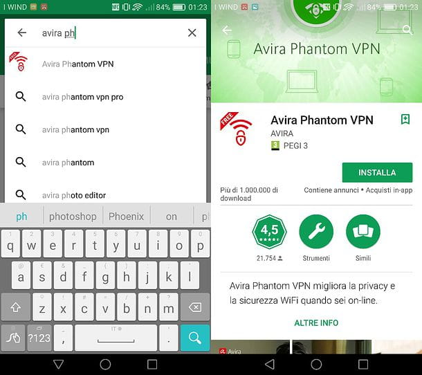 Download Avira Phantom VPN su Android
