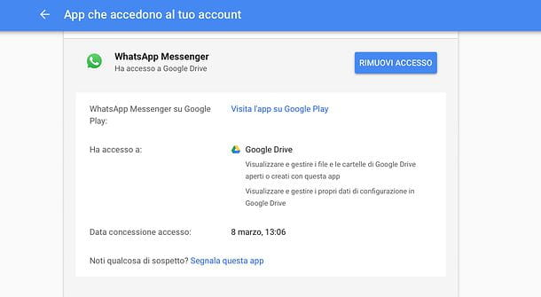 Cancellare WhatsApp Google Drive