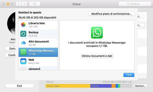Come cancellare backup WhatsApp da iCloud
