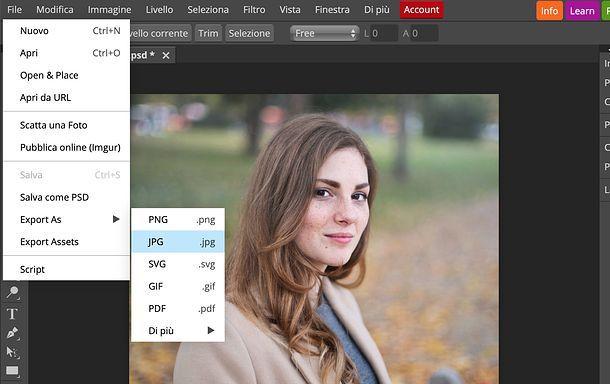 Come ritagliare un'immagine con Photopea
