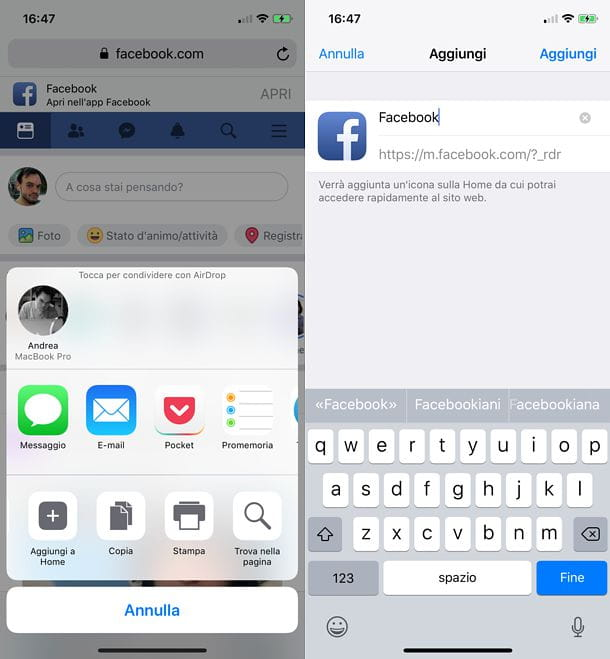 Icona Facebook Web iOS