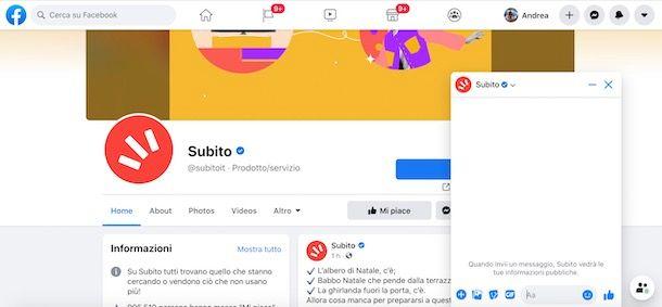 Contattare Subito.it su Facebook