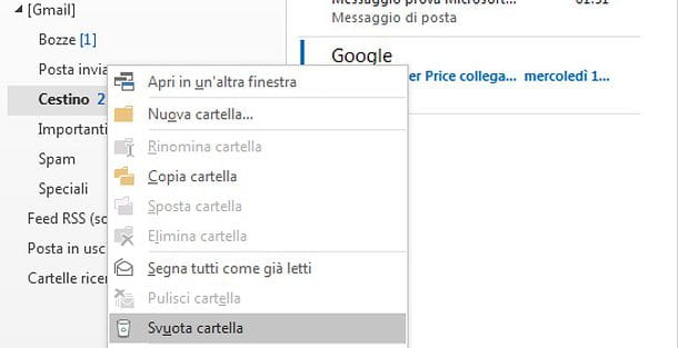 Come svuotare cestino Gmail in Outlook