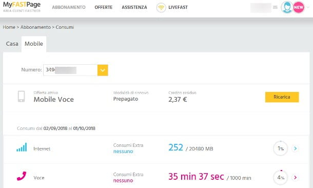 Come controllare credito Fastweb Mobile tramite sito Web