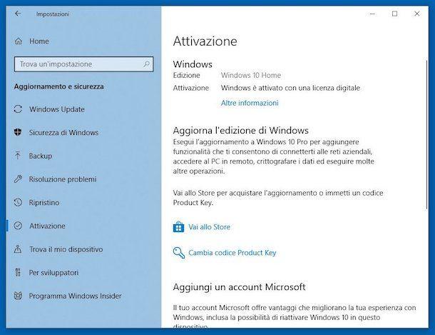 Come sapere se Windows 10 è attivato