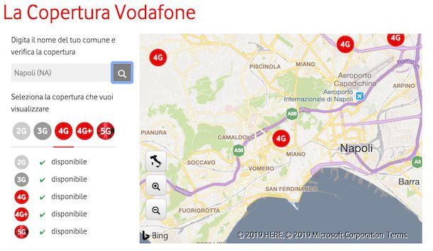 Mappa copertura rete mobile Vodafone