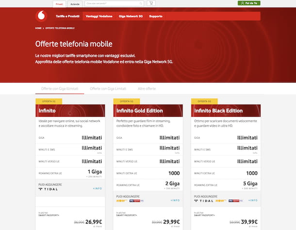 Offerte Vodafone linea mobile