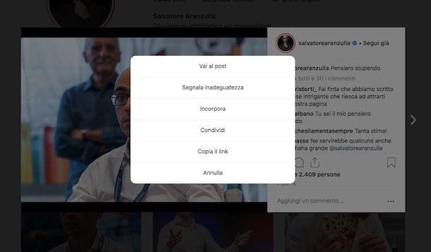 Come copiare il link di Instagram post