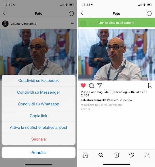 Come copiare il link dei post su Instagram