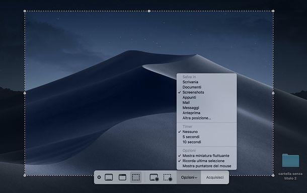 Cattura schermo macOS Mojave