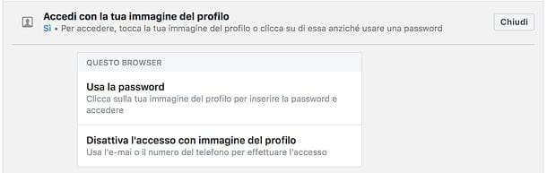 Come disattivare accesso con foto su Facebook