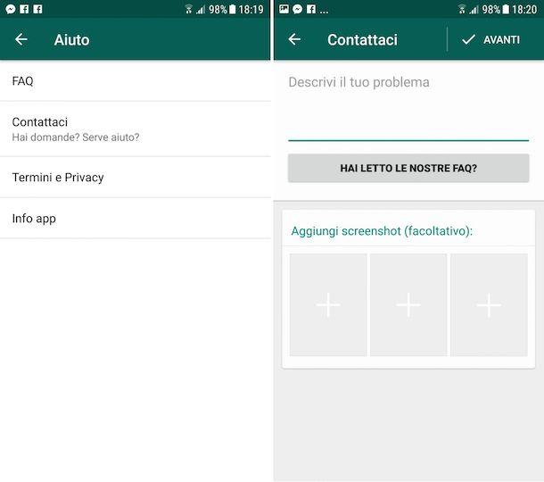 Come contattare WhatsApp