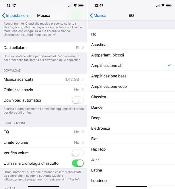 Equalizzatore iOS
