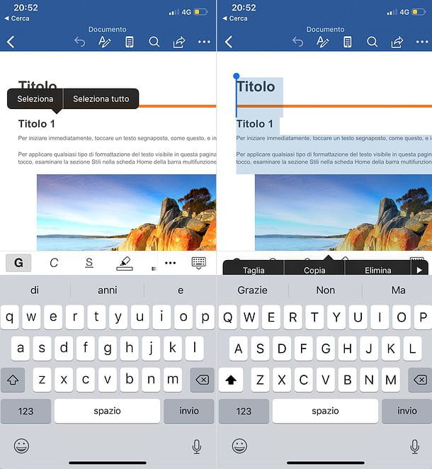 Come selezionare tutto su Word per smartphone
