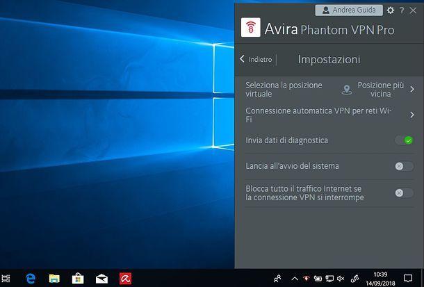 Impostazioni di Avira Phantom VPN