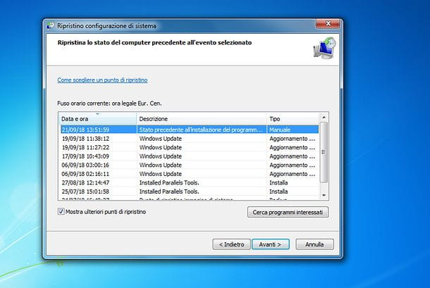Come creare punto di ripristino Windows 7