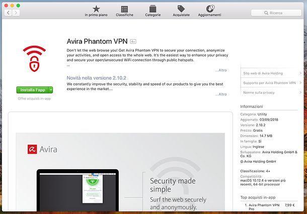 Installazione di Avira Phantom VPN Free su Mac