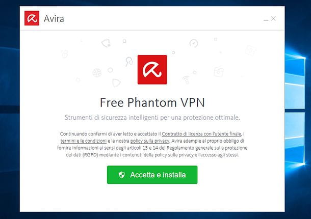 Installazione Avira Phantom VPN Free su Windows