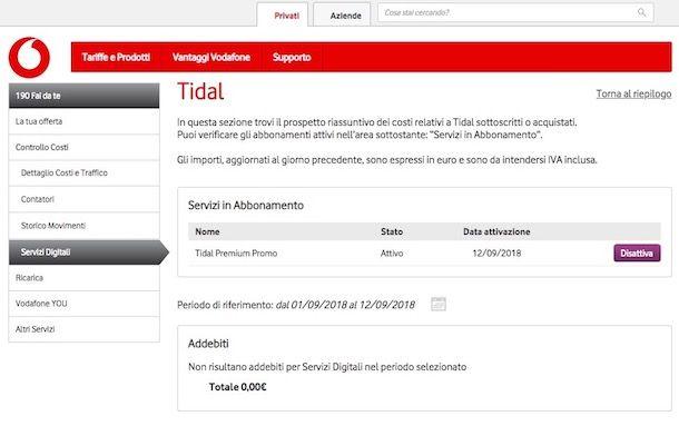 Come disattivare servizi digitali Vodafone