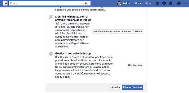 Come cancellare account Facebook